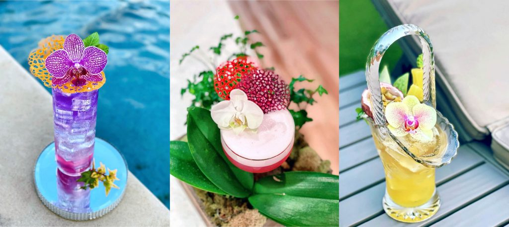 Composite of three images, each featuring a cocktail glass with orchid flowres